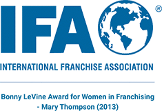Mary Thompson won the 2013 Bony LeVine Award at the International Franchise Association